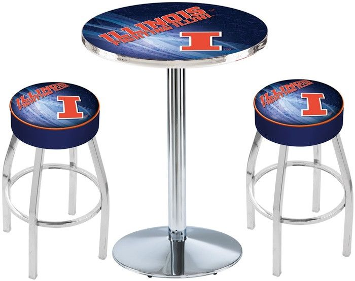 Illinois Fighting Illini D2 Chrome Pub Table Set. Available in two table widths.  Visit SportsFansPlus.com for Details.