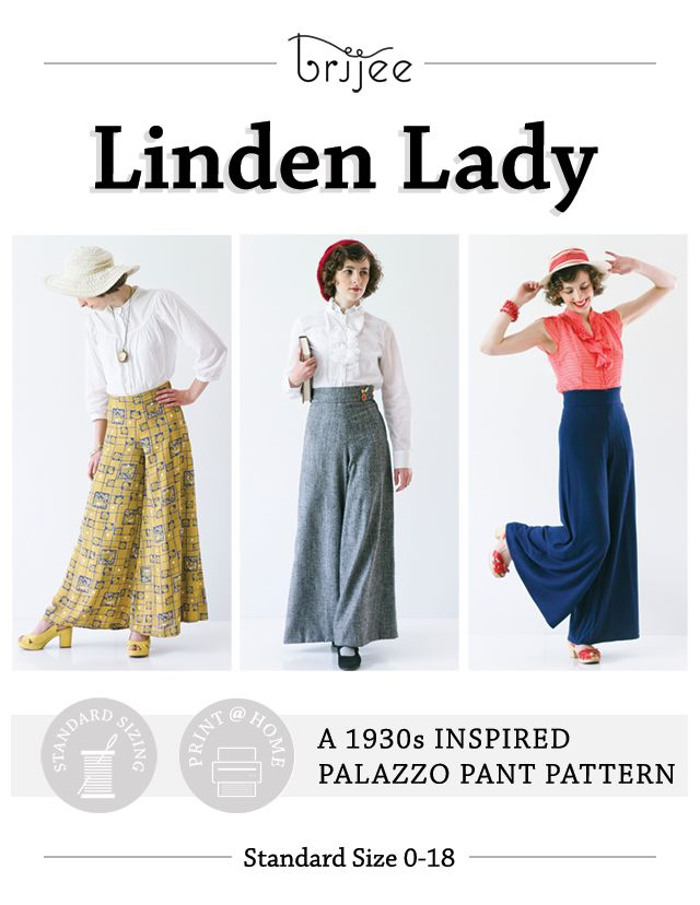 Linden Lady | 1930s Inspired Palazzo Pants Pattern by Brijee, 1930s, vintage, retro sewing, sew, 1930s sewing, print at home, digital download pattern, palazzo pants, palazzo pants sewing pattern, palazzo pants pattern