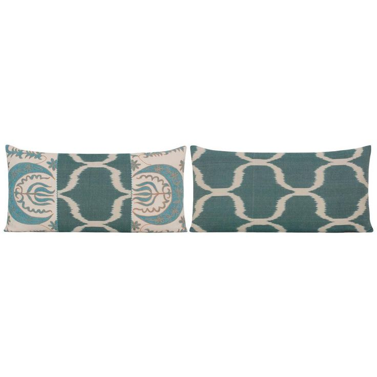 Pair of Yastik Sissinghurst Ikat Cushions by Rifat Ozbek | From a unique collection of antique and modern pillows and throws at https://www.1stdibs.com/furniture/more-furniture-collectibles/pillows-throws/