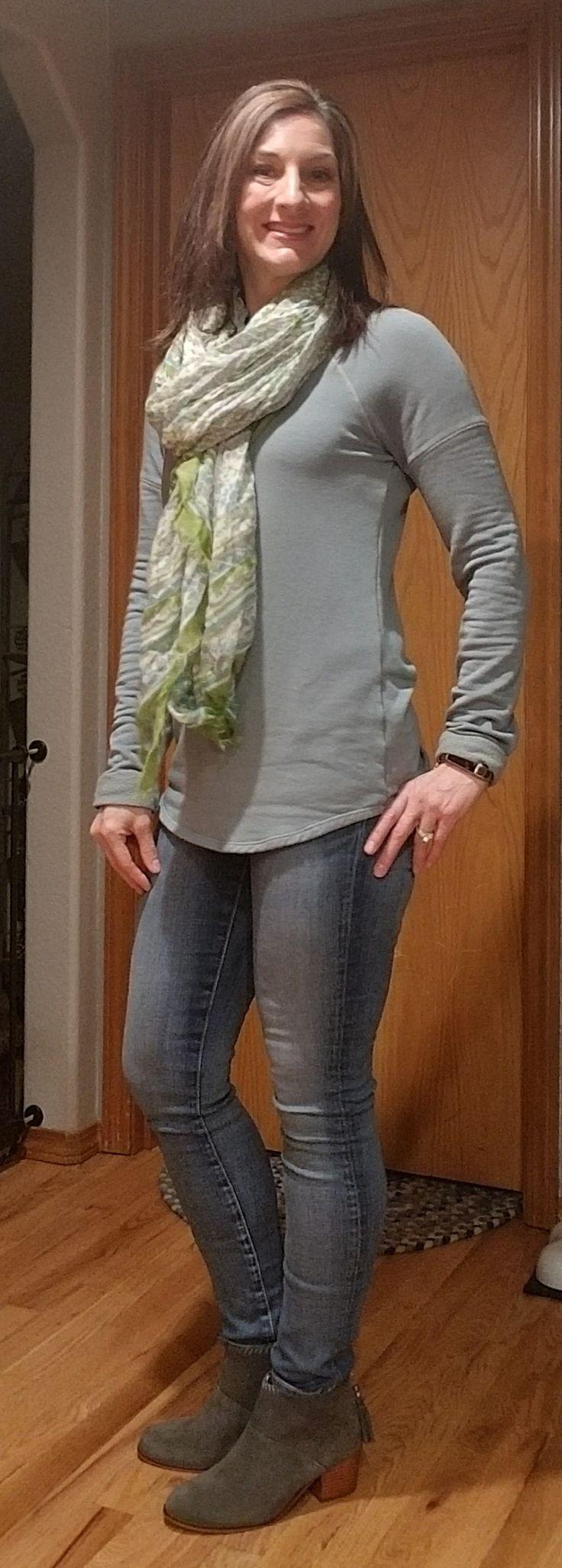 Stateside Kirsta Sweatshirt, scarf, AG slim straight ankle jeans, Tom's booties