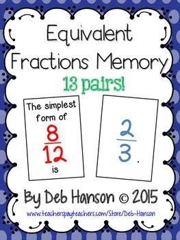 Fractions in Simplest Form  Memory Game FREEBIE