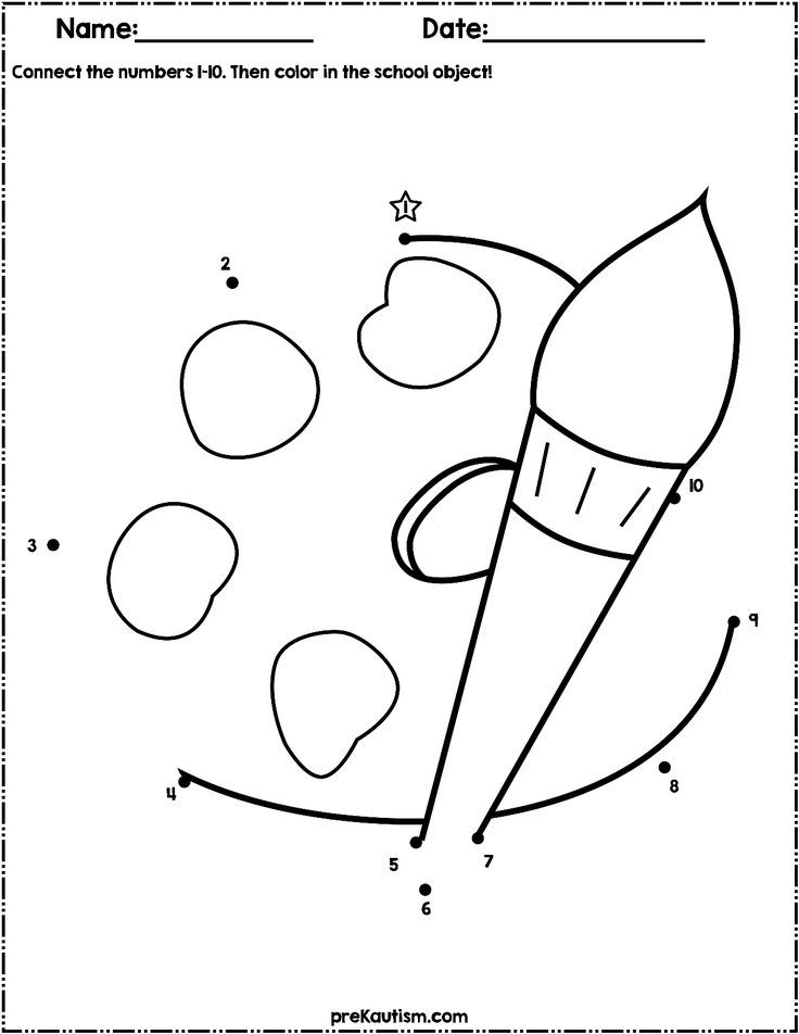 Back To School Dot to Dot Worksheets   Numbers 1-10   Dots ...
