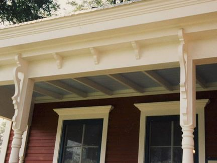 Cornice And Post Bracket Detail On Victorian Front Porch