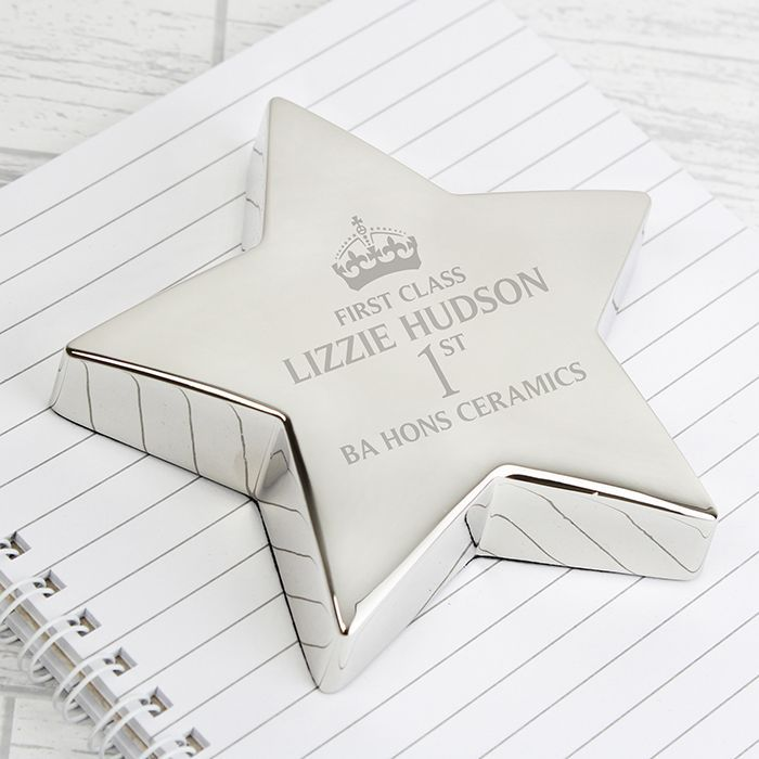 Personalise this 1st Class Star Paperweight with any role up to 15 characters i e teacher and a line of message upto 20 characters First Class and