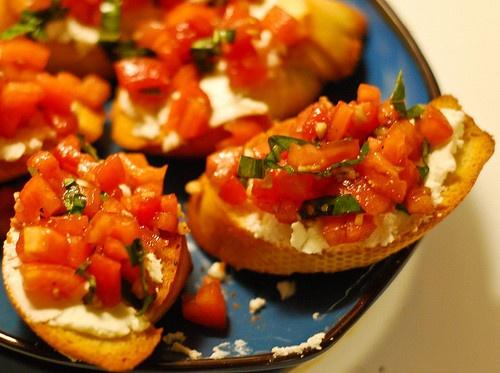 Tomato Basil and Goat Cheese Bruschetta
