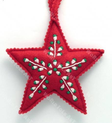 Embroidered Felt Star Ornament - World Folk Art - Find Stained Gourds, Metal Wall Hangings, and more