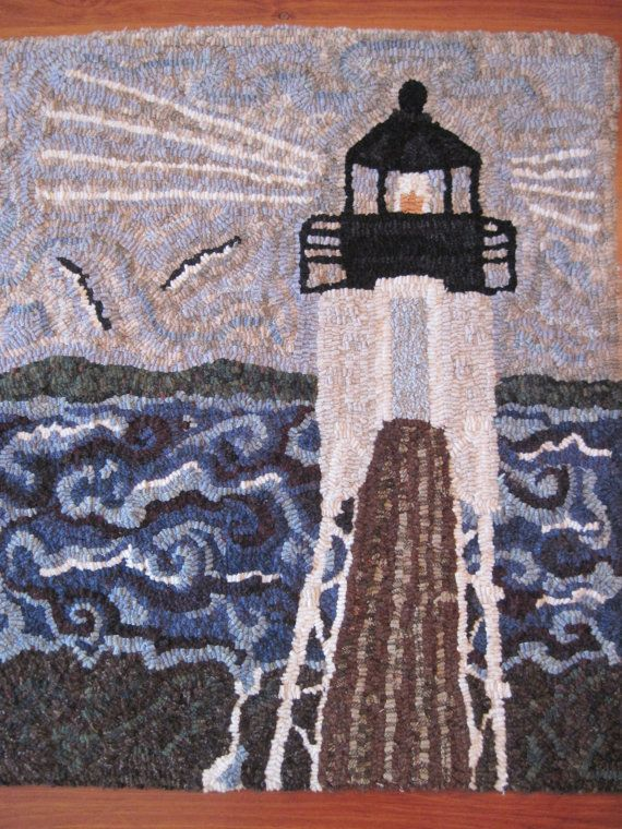 Storm at Marshall Point Light  Maine  by ParrisHouseWoolWorks, $375.00  https://www.etsy.com/listing/91734551/storm-at-marshall-point-light-maine