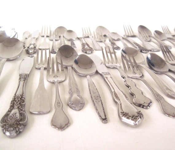 Cottage Chic Stainless Silverware Set by LaurasLastDitch on Etsy