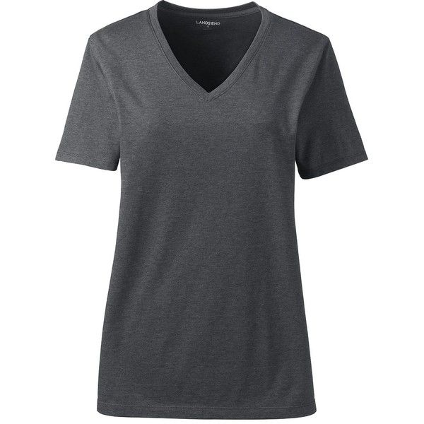 Lands' End Women's Plus Size Petite Relaxed Supima V-neck T-shirt ($26) ❤ liked on Polyvore featuring tops, t-shirts, grey, grey t shirt, gray t shirt, petite t shirts, v neck t shirts and cotton t shirts