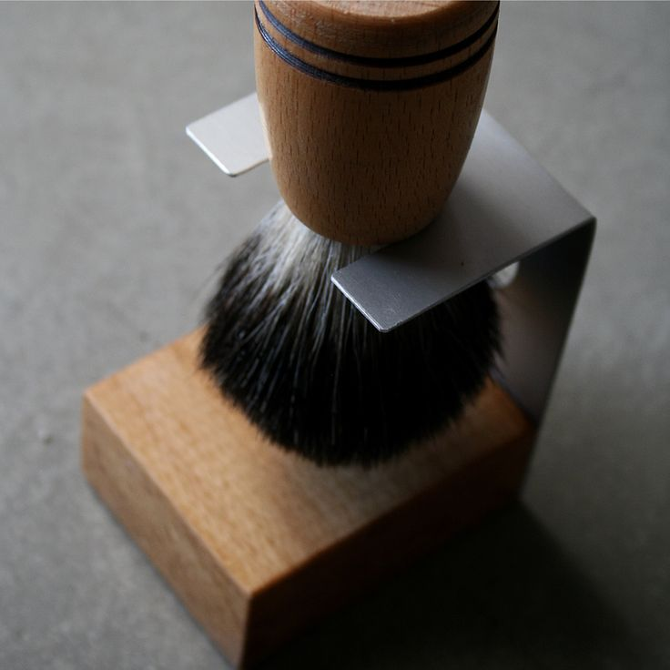 handcrafted shaving brush & stand - beechwood, aluminum, pure black badger bristle