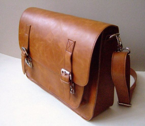 SALE 15% OFF brown leather messenger bag 16 inch leather by Lemum