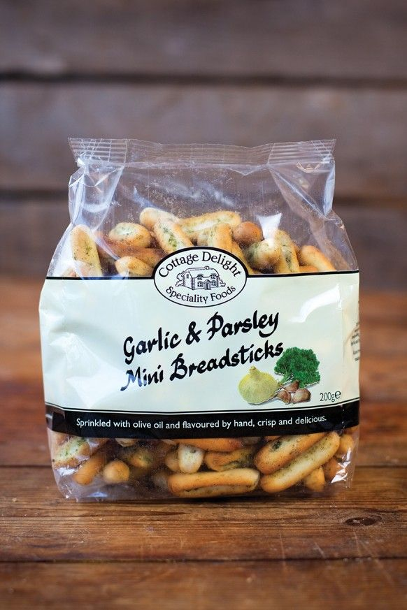 Garlic and Parsley Mini Breadsticks  Crisp and delicious these mini breadsticks are sprinkled with olive oil and flavoured by hand.