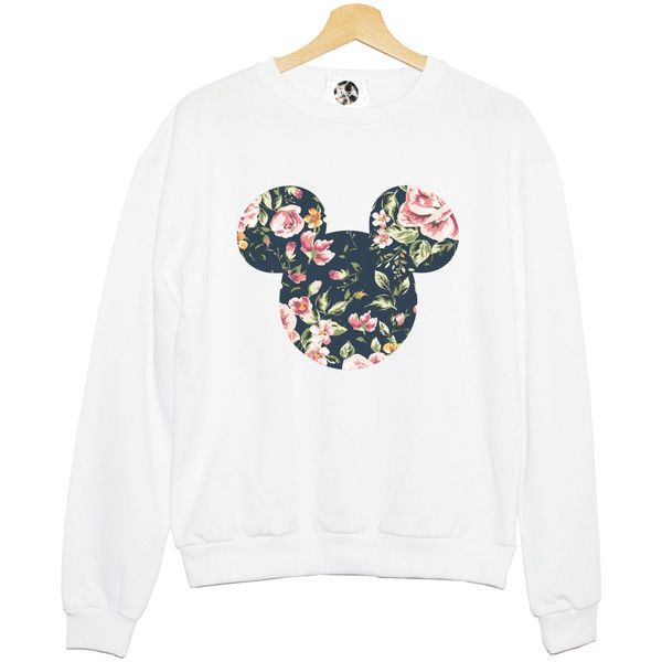 FLORAL MICKEY SWEATER sweatshirt jumper hipster grunge retro paris... ($34) ❤ liked on Polyvore featuring tops, sweaters, shirts, blusa, flower print shirt, heart print shirt, print shirts, white top and pink floral shirt
