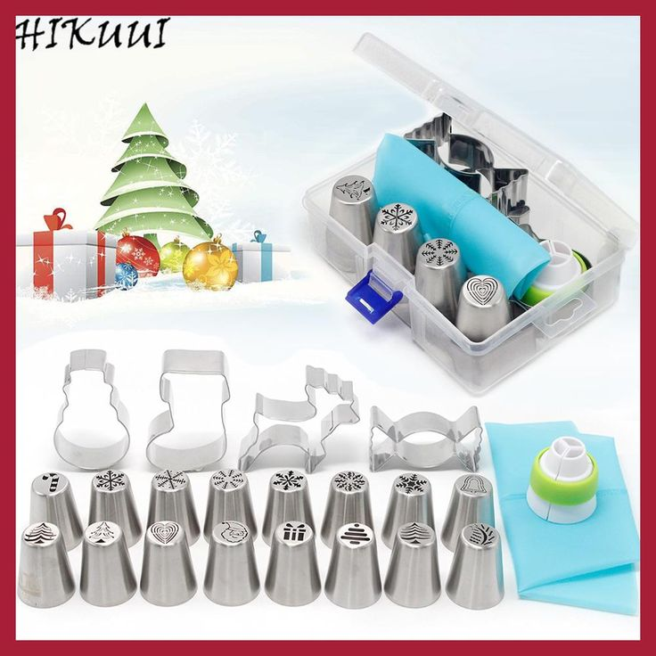 HIKUUI 20PCS Christmas Style Pastry&Nozzle Cookie Mold Set Santa Claus Christmas Tree Snow Piping Tips Cake DIY Baking Tools