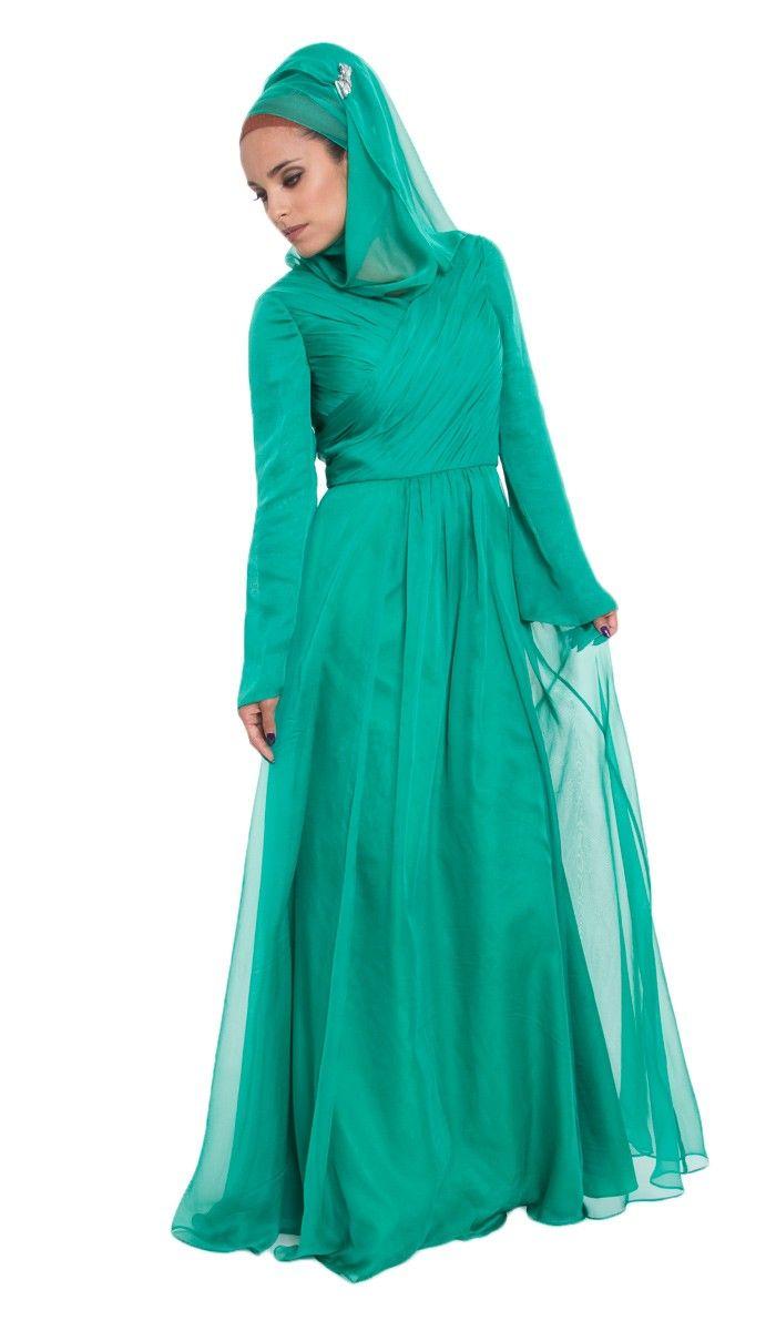 Saba Emerald Green Silk Chiffon Formal Long Dress with Hijab and Jeweled Pin