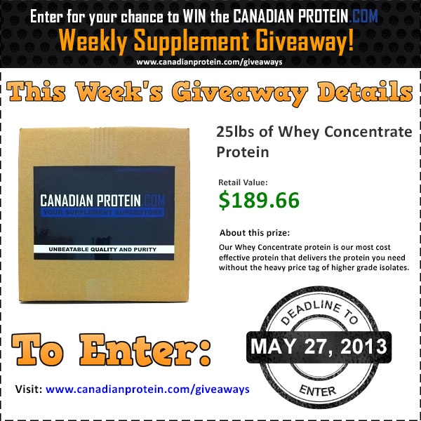 Only one day left for your chance to win 25lbs of protein! Go to the link to enter: http://www.canadianprotein.com/giveaways