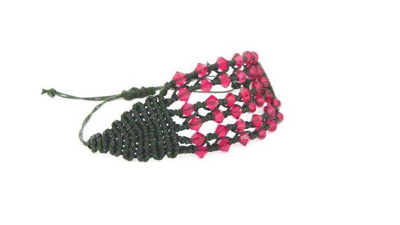 Black Bracelet red swarovski modern macrame  made by morenamacrame