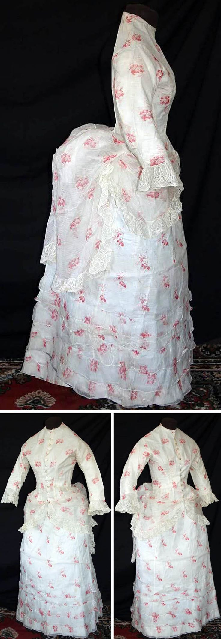 1870s summer dress of striped white cotton with pink floral print. Long Polonaise  bodice has small stand-up collar and loosely fitted sleeves with flared Alençon lace cuffs. Bottom hem also trimmed with white Alençon floral lace. Closes in front with 12 mother of pearl buttons and is lined with white cotton. Back of skirt is tightly pleated to accommodate bustle. Bodice drapes over skirt to give apron effect. Skirt has 5 rows of ruffles and is lined with white cotton. e-warrior/eBay