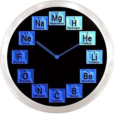 Reloj LED Elementos Químicos de la Tabla Periódica | Relojes de Pared