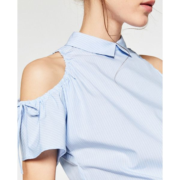 OFF - THE-SHOULDER TOP-TOPS-TRF   ZARA United States (670 MXN) ❤ liked on Polyvore featuring tops, blue off the shoulder top, off shoulder tops, blue off shoulder top, off the shoulder tops and blue top