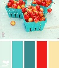 red & turquoise bedroom - something to try to bring in striped lighthouses, lobsters, and beach towel colours.