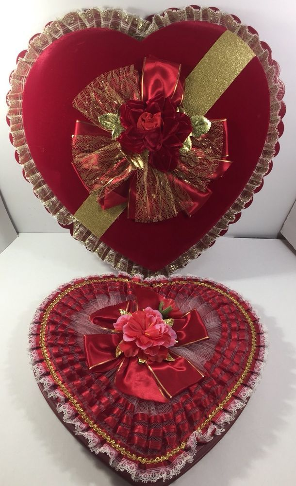 Vintage Set Of 2 Heart Shape Chocolate Valentine S Day Candy Box Red