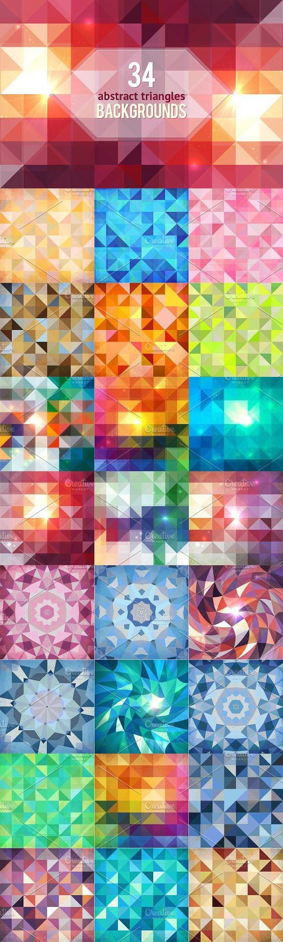 34 geometric abstract backgrounds. Patterns. $15.00