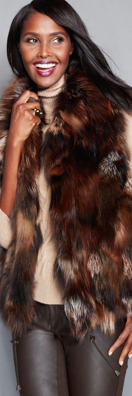 The Fur Vault Pieced Fox Fur Vest- #LadyLuxuryDesigns