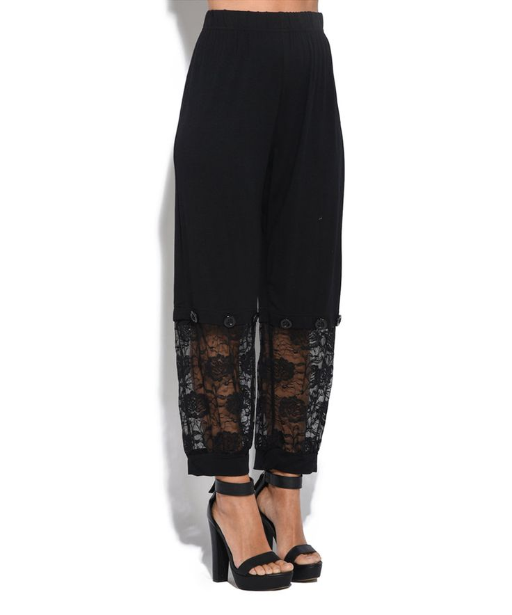 Take a look at this Pomme Rouge Black Floral Lace Pants - Plus Too today!