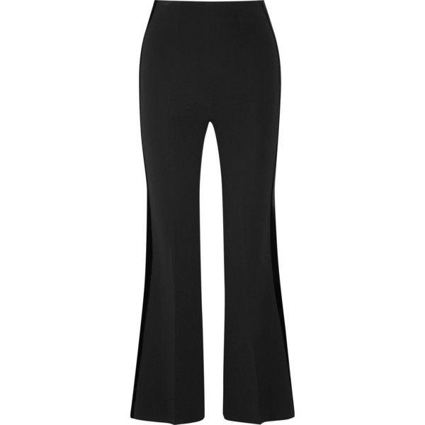 Roland Mouret Cropped velvet-trimmed stretch-ponte flared pants ($685) ❤ liked on Polyvore featuring pants, capris, black, flared cropped pants, tuxedo stripe pants, cropped pants, flare trousers and tuxedo pants