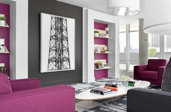 idée de salon en gris et violet