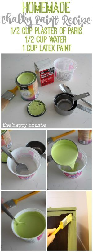 Homemade Chalky Paint Recipe and tutorial at the happy housie