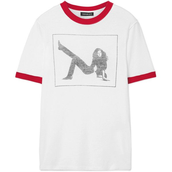 CALVIN KLEIN 205W39NYC Printed slub cotton-jersey T-shirt (4.314.895 VND) ❤ liked on Polyvore featuring tops, t-shirts, white, eighties t shirts, cotton jersey, white tee, white t shirt and white top