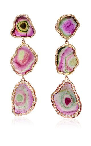 One of a kind watermelon tourmaline earrings by NATALIE DISSEL for Preorder on Moda Operandi