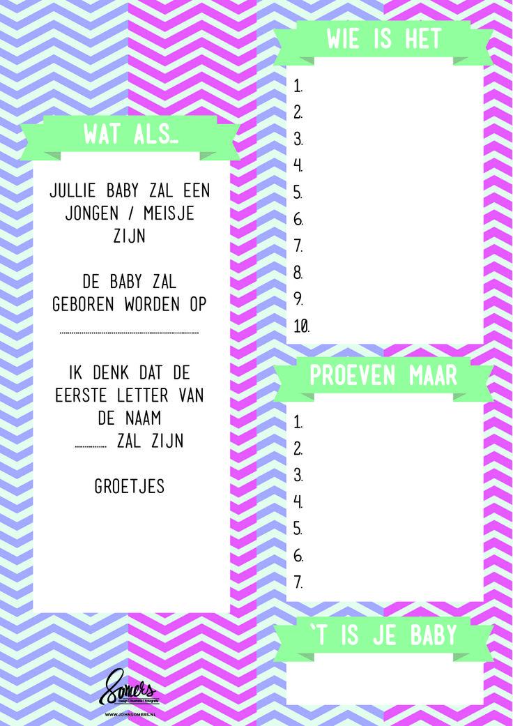 Moet je binnenkort een Babyshower organiseren? Dan helpen deze antwoordkaarten je alvast op weg.
