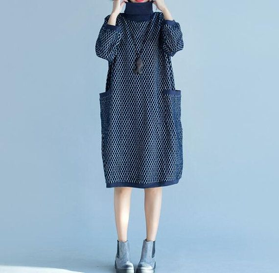 High collar bat sleeve Loose Fitting Cotton dress by MaLieb