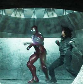 """Sorry, but this scene from the """"Civil War"""" trailer disturbs me. The avatar of fair play, Captain America, ganging up two against one? And is something wrong with Tony, or is he pulling his punches and repulsors so he doesn't hurt his attackers?"""