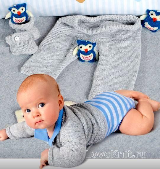 детский костюм из штанишек, жакета, шапочки и пинеток фото к описанию