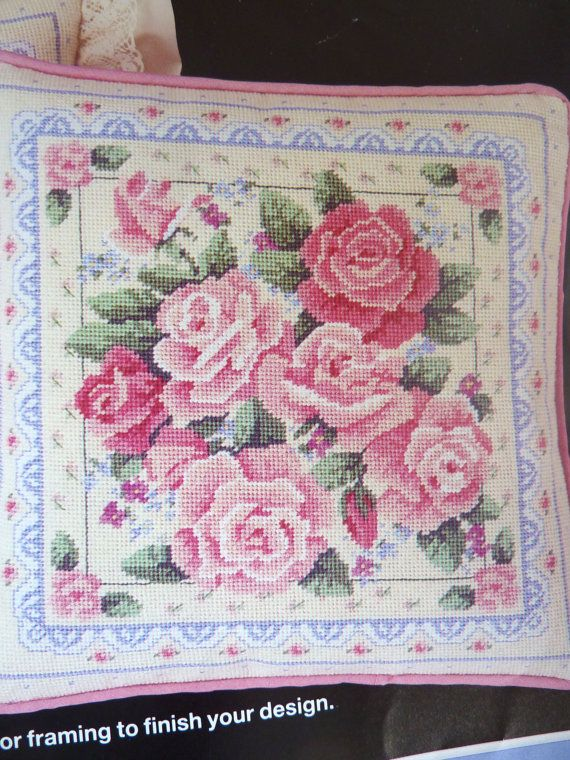 Rose Garden Pillow Needlepoint Kit by BonniesVintageAttic on Etsy, $24.95
