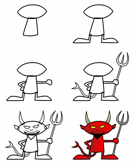 This is not a nice devil! It's an adorable one! Grab a pencil and give it a try! It's easy! More lessons (advanced or beginners) can be found on the original site.