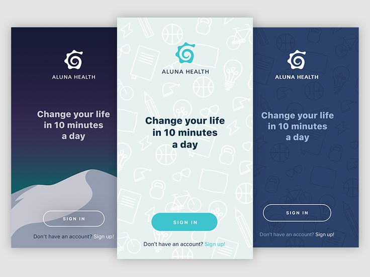 Launch screens for Aluna Health. Aluna Health is an app that gives you an optimal structure to achieve your goals.