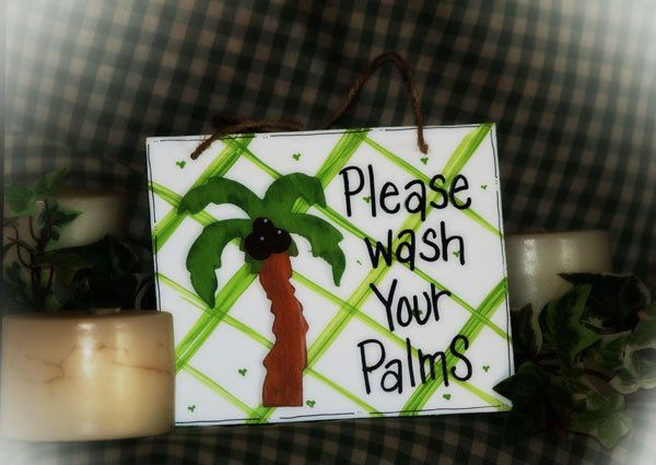 Wash your palms bathroom sign palm tree tropical beach. $5.15, via Etsy.