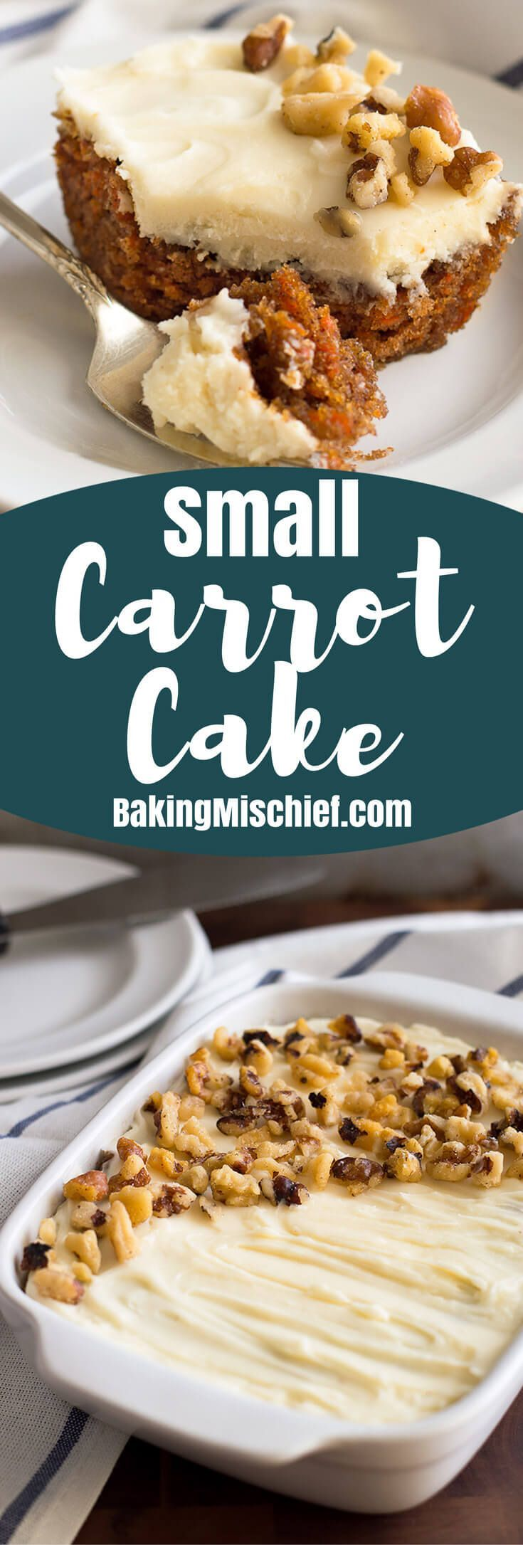 This incredibly easy Small Carrot Cake With Cream Cheese Frosting is a perfect replica of my mom's potluck favorite! From http://BakingMischief.com | Small-batch Dessert | Mini Cake |