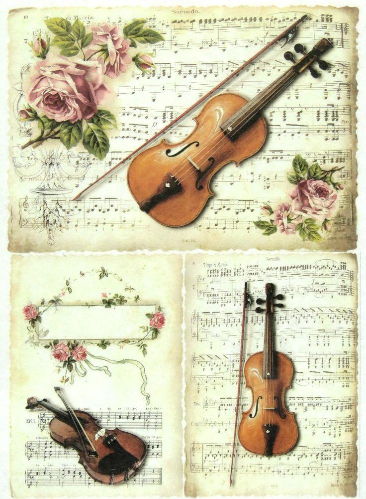 Ricepaper/Decoupage paper,Scrapbooking Sheets/Craft Paper Vintage Violin | eBay