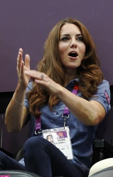 Kate, Duchess of Cambridge watching handball during London Olympics. August 5, 2012.