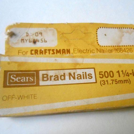 SEARS Off White 1 1/4 inch Brad Nails for Craftsman Electric #sears #bradnails #craftsman #electricnailer #metal #retrooffice #stapler #hardware #parts #offwhite #white #beige #etsy #etsyseller #etsyshop #giftideas #vintage #retro