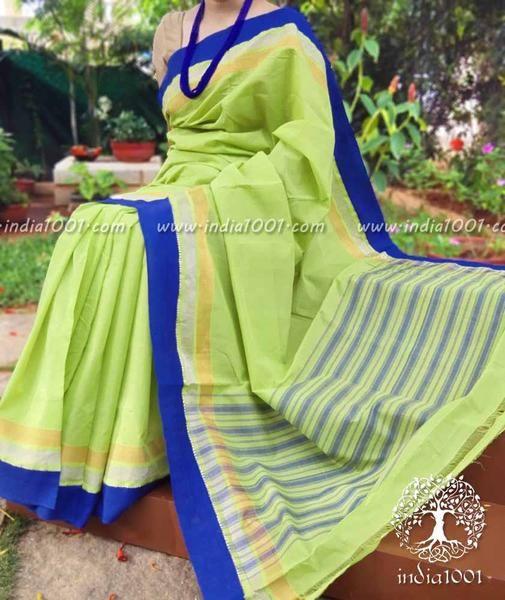 Fine & Elegant Mangalgiri Cotton Saree with Temple & Zari Border