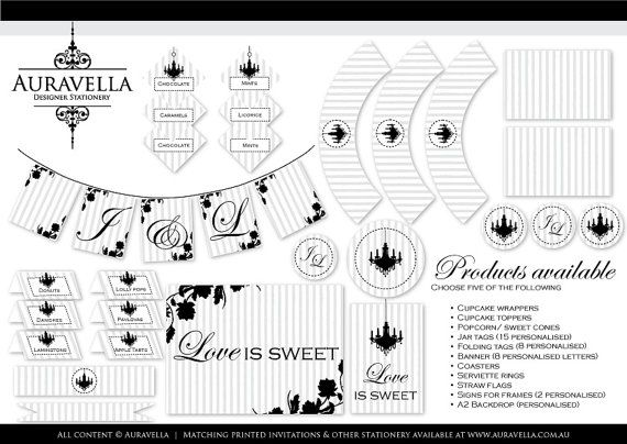 PDF Printable candy buffet collection. 5of Cupcake wrappers, Toppers,Place cards,Tags, Backdrops, Labels, Signs, Straw flags, DIY Chandelier