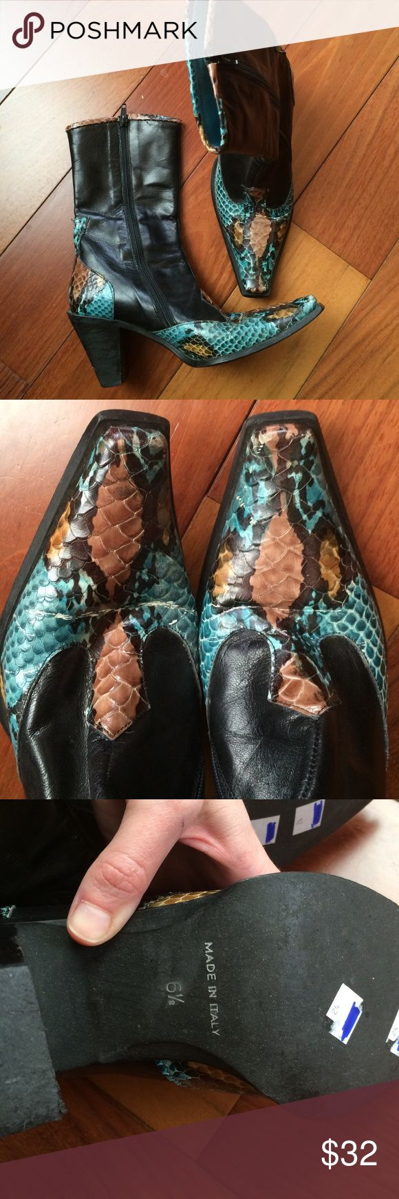 Enzo Angiolini Snakeskin Cowboy Boots Leather Sole shows some wear, minor cracking at top on color, see pics. Leather in great shape. 6.5 could fit a narrower 7 Enzo Angiolini Shoes Heeled Boots