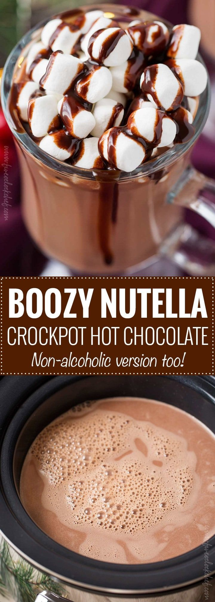 Boozy Nutella Crockpot Hot Chocolate | This holiday season, make hot chocolate for the whole party, right in your slow cooker! This hot chocolate is made with plenty of nutella for a creamy hazelnut version that's absolutely amazing! To make it boozy, add a splash of your favorite alcohol!